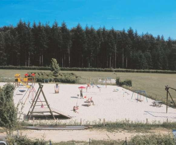 Playground on seasand and maze on Camping Auf Kengert Larochette Luxemburg