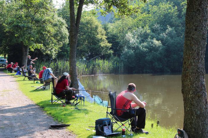 fishing in the campsite owned pond at Camping Reilerweier Clervaux Reuler Luxembourg