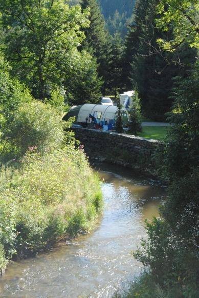 camp next to river Woltz at Camping Woltzdal Maulusmuhle Luxembourg